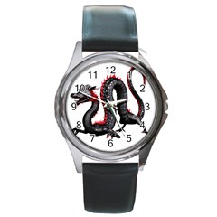 Dragon Black Red China Asian 3d Round Metal Watch