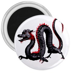 Dragon Black Red China Asian 3d 3  Magnets