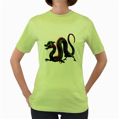 Dragon Black Red China Asian 3d Women s Green T-Shirt