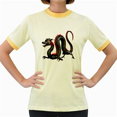 Dragon Black Red China Asian 3d Women s Fitted Ringer T-Shirts