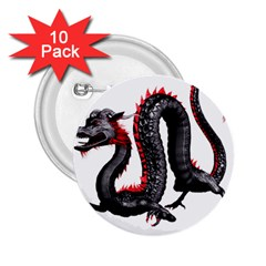Dragon Black Red China Asian 3d 2 25  Buttons (10 Pack)