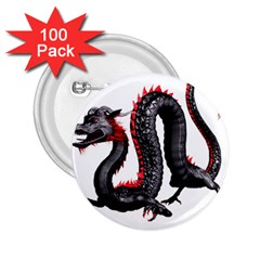 Dragon Black Red China Asian 3d 2 25  Buttons (100 Pack)