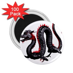 Dragon Black Red China Asian 3d 2 25  Magnets (100 Pack)