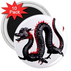 Dragon Black Red China Asian 3d 3  Magnets (10 Pack)