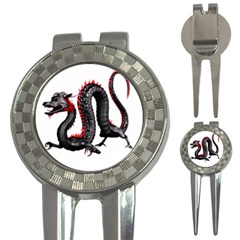 Dragon Black Red China Asian 3d 3 In 1 Golf Divots