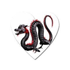 Dragon Black Red China Asian 3d Heart Magnet