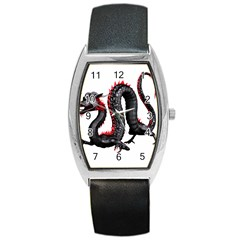 Dragon Black Red China Asian 3d Barrel Style Metal Watch