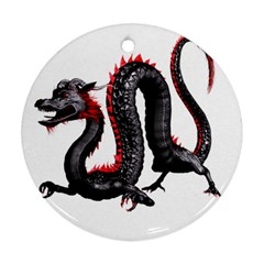 Dragon Black Red China Asian 3d Round Ornament (two Sides)