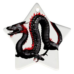 Dragon Black Red China Asian 3d Star Ornament (Two Sides)