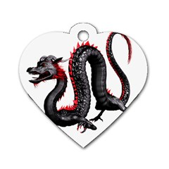 Dragon Black Red China Asian 3d Dog Tag Heart (two Sides)