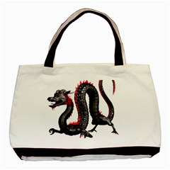 Dragon Black Red China Asian 3d Basic Tote Bag (two Sides)