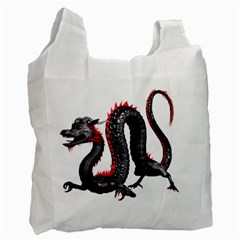 Dragon Black Red China Asian 3d Recycle Bag (One Side)