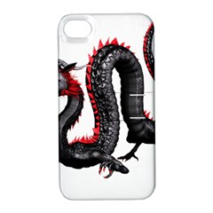 Dragon Black Red China Asian 3d Apple iPhone 4/4S Hardshell Case with Stand