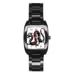 Dragon Black Red China Asian 3d Stainless Steel Barrel Watch