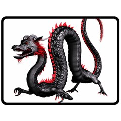 Dragon Black Red China Asian 3d Double Sided Fleece Blanket (large)