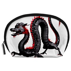 Dragon Black Red China Asian 3d Accessory Pouches (Large)