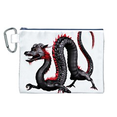 Dragon Black Red China Asian 3d Canvas Cosmetic Bag (L)