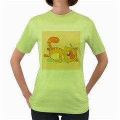 Even Cat Hates Monday Women s Green T Shirt