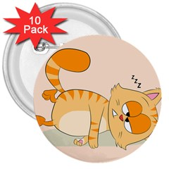 Even Cat Hates Monday 3  Buttons (10 Pack)