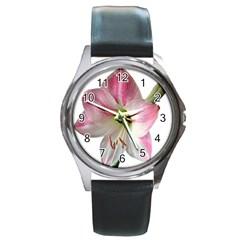 Flower Blossom Bloom Amaryllis Round Metal Watch