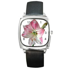 Flower Blossom Bloom Amaryllis Square Metal Watch