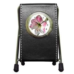 Flower Blossom Bloom Amaryllis Pen Holder Desk Clocks