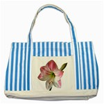 Flower Blossom Bloom Amaryllis Striped Blue Tote Bag Front