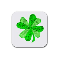 St Patricks Day Shamrock Green Rubber Coaster (square)