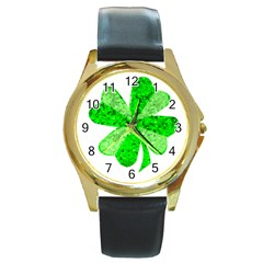 St Patricks Day Shamrock Green Round Gold Metal Watch