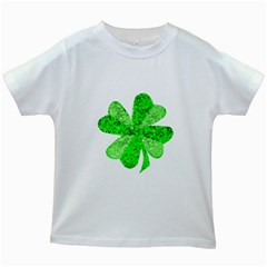 St Patricks Day Shamrock Green Kids White T Shirts