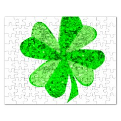 St Patricks Day Shamrock Green Rectangular Jigsaw Puzzl