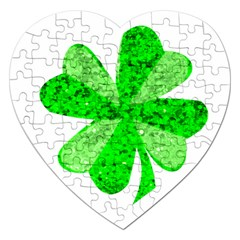 St Patricks Day Shamrock Green Jigsaw Puzzle (Heart)