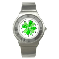 St Patricks Day Shamrock Green Stainless Steel Watch