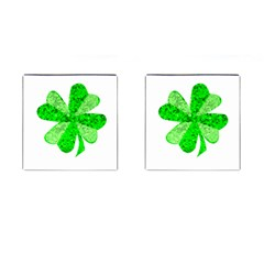 St Patricks Day Shamrock Green Cufflinks (square)