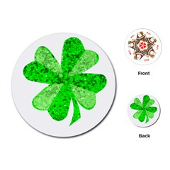 St Patricks Day Shamrock Green Playing Cards (Round)
