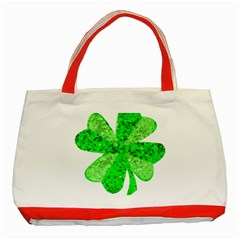 St Patricks Day Shamrock Green Classic Tote Bag (Red)