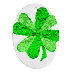 St Patricks Day Shamrock Green Oval Ornament (Two Sides)