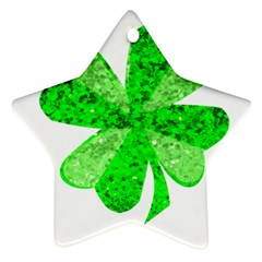 St Patricks Day Shamrock Green Star Ornament (Two Sides)
