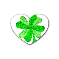 St Patricks Day Shamrock Green Rubber Coaster (Heart)