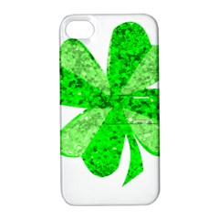 St Patricks Day Shamrock Green Apple Iphone 4/4s Hardshell Case With Stand
