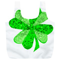 St Patricks Day Shamrock Green Full Print Recycle Bags (L)