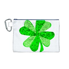 St Patricks Day Shamrock Green Canvas Cosmetic Bag (M)
