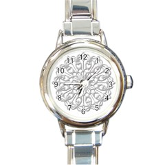 Scrapbook Side Lace Tag Element Round Italian Charm Watch