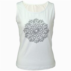 Scrapbook Side Lace Tag Element Women s White Tank Top