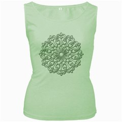 Scrapbook Side Lace Tag Element Women s Green Tank Top
