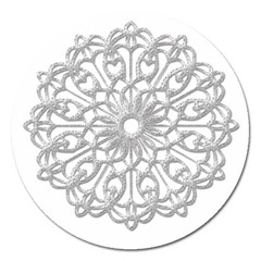 Scrapbook Side Lace Tag Element Magnet 5  (round)