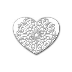 Scrapbook Side Lace Tag Element Rubber Coaster (Heart)