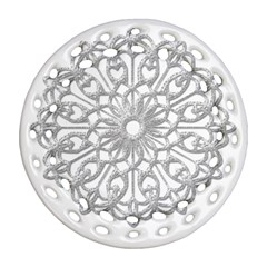 Scrapbook Side Lace Tag Element Round Filigree Ornament (two Sides)