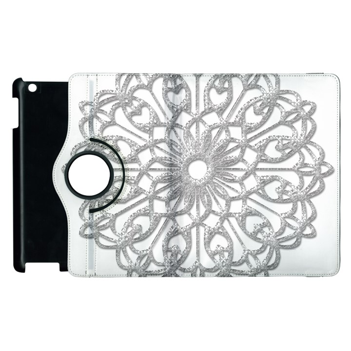 Scrapbook Side Lace Tag Element Apple iPad 3/4 Flip 360 Case