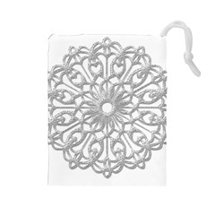 Scrapbook Side Lace Tag Element Drawstring Pouches (Large)